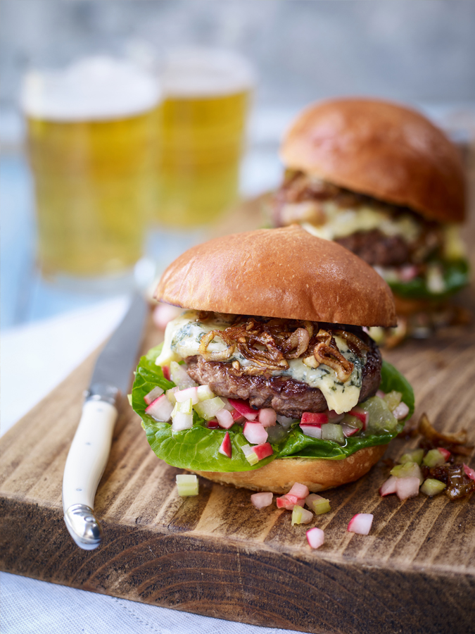 Blue cheese burger with celery and radish salsa