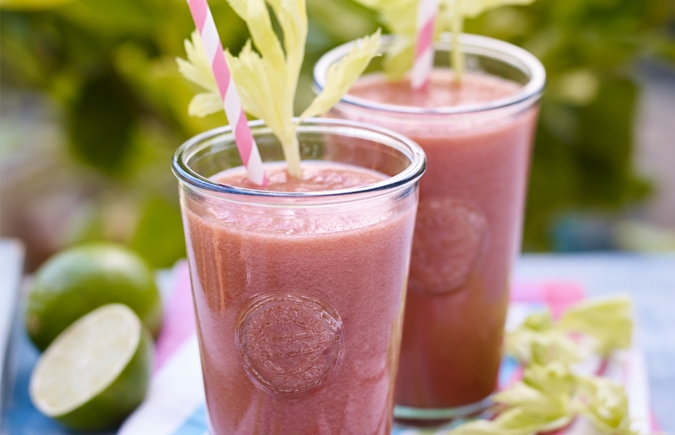 Celery, berry and coconut water smoothie