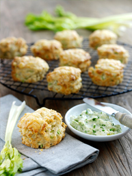 Cheese, celery and walnut scones served with parsley butter and celery sticks - thumb