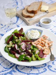 Summer garden salad with Beetroot, celery and trout fillets. Horseradish cream dressing - thumb