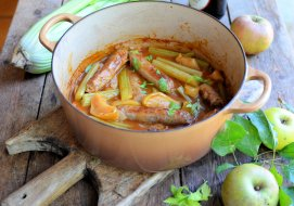 Boozy sausage, apple and Fenland celery hotpot with cider