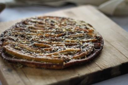 Caramelized Fenland celery tarte tatin with parmesan and sage crust