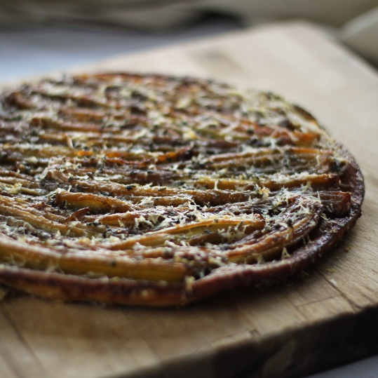 Caramelized Fenland celery tarte tatin with parmesan and sage crust