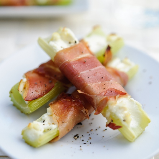 Celery and crispy Parma ham wraps