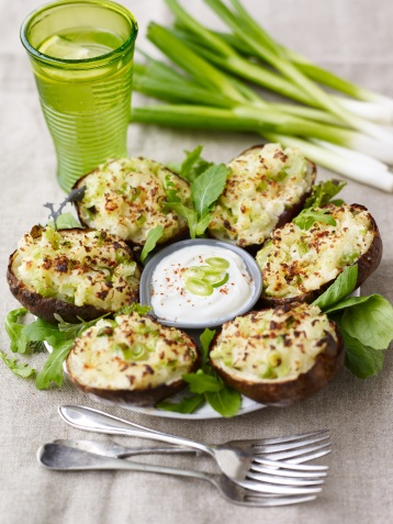 Celery and spring onion potato skins