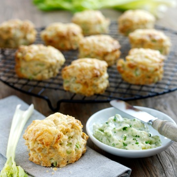 Cheese, Fenland celery and walnut scones served with parsley butter and Fenland celery sticks