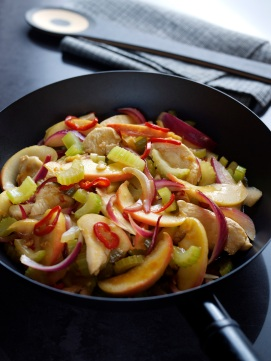 Chicken, Fenland celery, apple and walnut stir fry with chilli and lemon