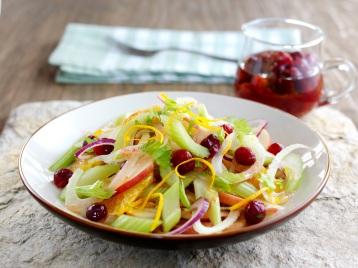 Crispy winter slaw - Fenland celery, cranberries, orange, fennel and onion in a maple and orange dressing