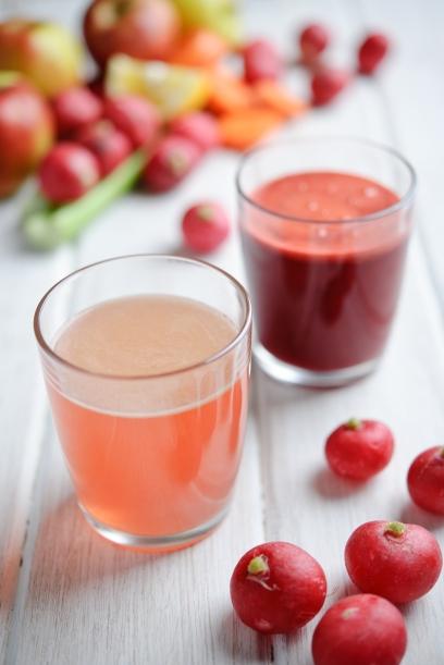 Celery and apple juice. Radish, apple and beetroot juice