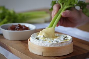 Celery and baked Camembert