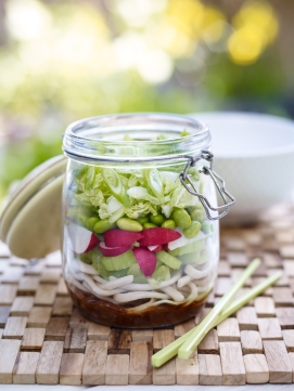 Jam jar celery, radish and spring onion salad
