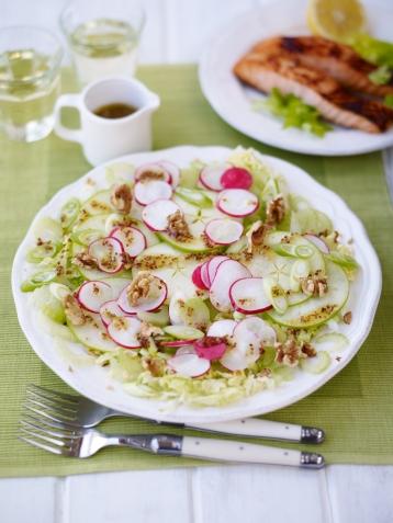Celery, spring onion, radish and green apple summer salad