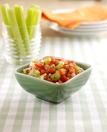 Celery and Isle of Wight tomato fresh salsa