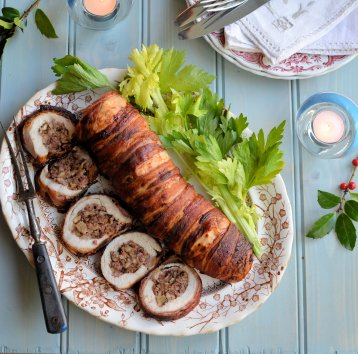 Roast turkey fillet with Fenland celery, walnut and sausage stuffing