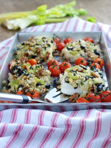 Roasted cod topped with Fenland celery, walnut and black olive stuffing with roasted Isle of Wight cherry tomatoes