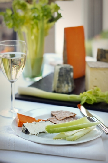 Traditional winter cheeseboard with Fenland celery