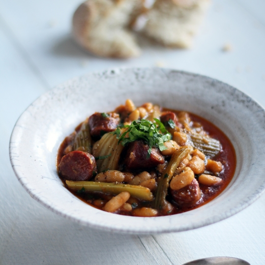 Winter stew of Fenland celery, chorizo and cannellini beans
